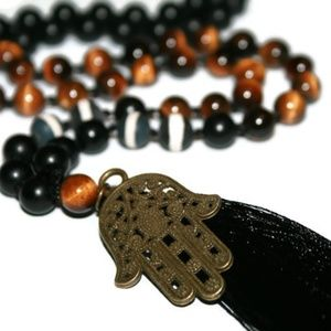 Tiger Eye & Onyx Hamsa Hand Tassel Necklace